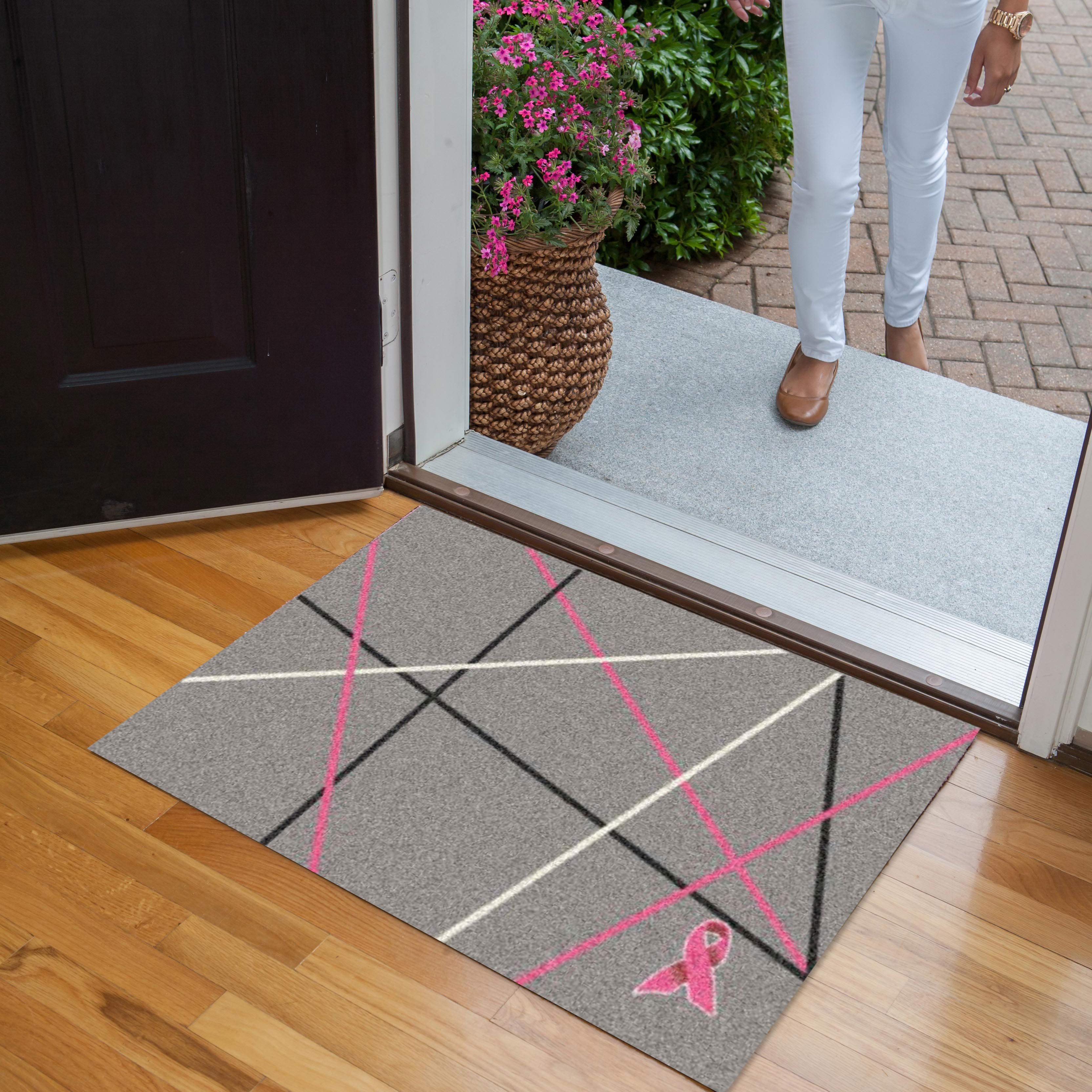 Courtney Lake Pink Ribbon Welcome Mat from Carpet One